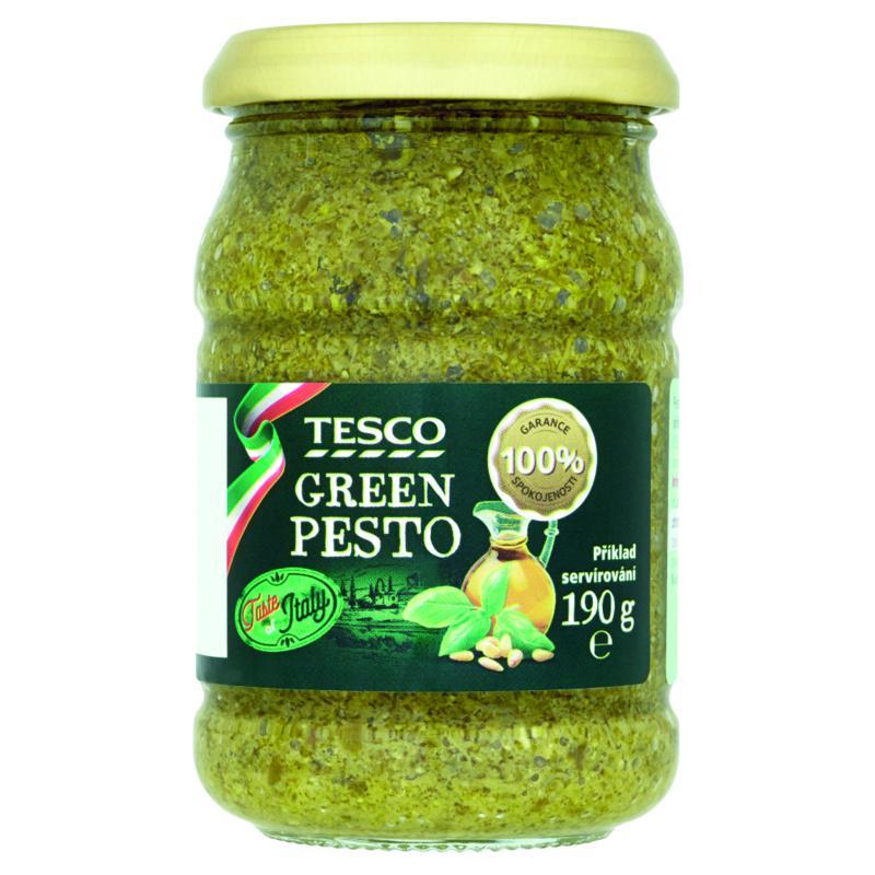 Tesco Pesto z bazalky, polotučného tvrdého sýru, oříšků kešu a piniových oříšků